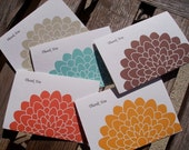 Thank You Card Set - Colored Mums, Orange Aqua Blue Brown Light Sage Green Golden Yellow, Thank You Notes