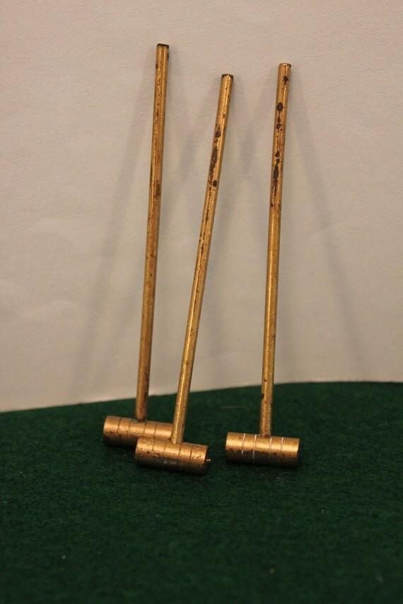 3 Vintage Miniature Brass Mallets Croquet Garden Diorama
