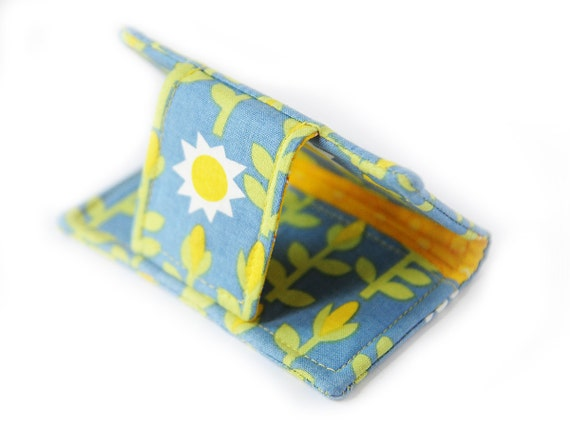 SALE 15% off - Corn Field Mini Wallet and Business Card Case - Knee High Fourth of July - Yellow Corn on Blue with shinny suns