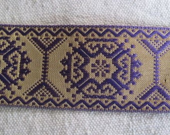 Geometric  Octagon jacquard ribbon GOLD and PURPLE