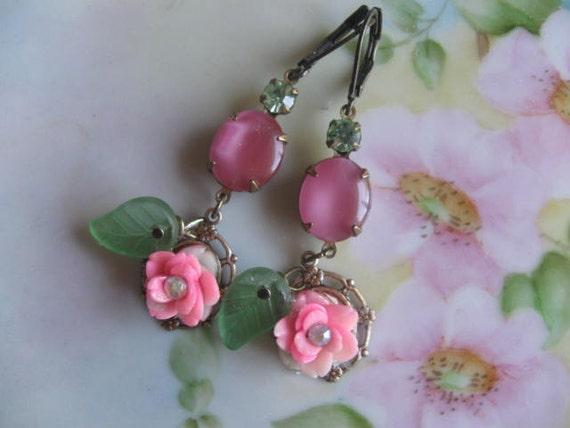 My favorite Rose.vintage assemblage rhinestone and rose flower dangle earrings