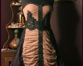 ON SALE Careless Whisper - Handmade, Upcycled Rouched Dress in Purple, Taupe, and Black Lace, and Hand Beaded by Jennifer Weiler