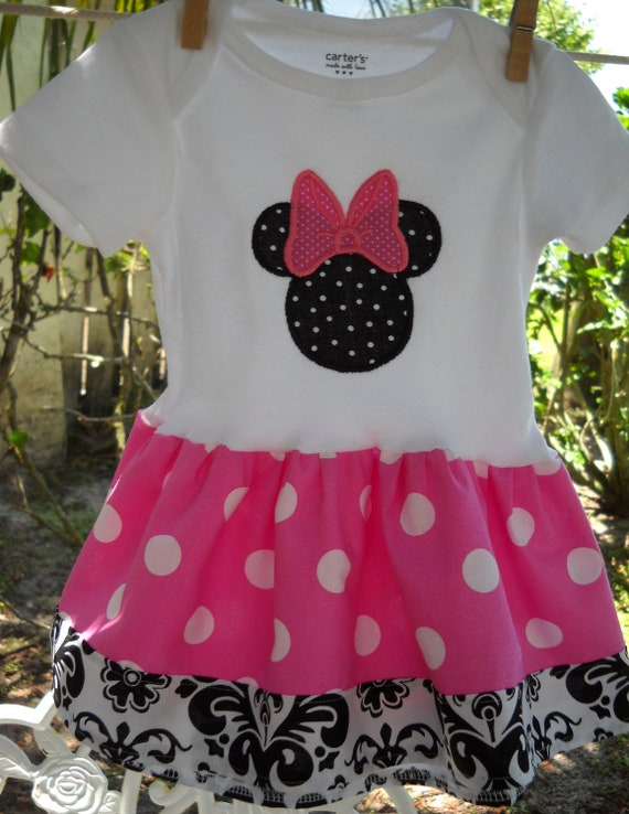 Minnie Mouse baby girl dress size 6-9 mons ready to ship pink and white polka dot with damask