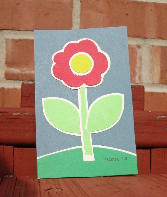 Original  Paper Art Collage Single Red Flower