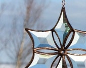 Fire and Ice Abstract Beveled Glass Snowflake Ornament Suncatcher
