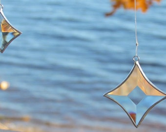 Geometric Glass and Crystal Hanging  Mobile