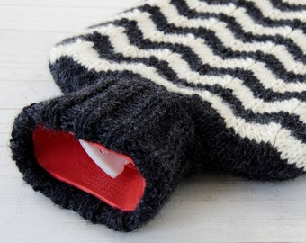 Hot water bottle Cover Knitted in Chevron Zig-Zag Stripe Pattern in charcoal & cream
