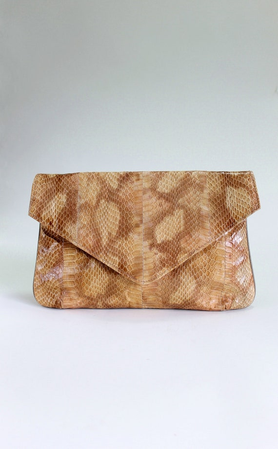 Sale - Tan Brown Faux Snakeskin Clutch. Cocktail Party. Evening Bag. Spring Fashion. New Years Eve
