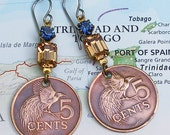 Trinidad & Tobago, Authentic Coin Earrings - - Bird of Paradise - - Exotic - Wildlife Conservation - Bird Watching - Fanciful - Travel Gifts