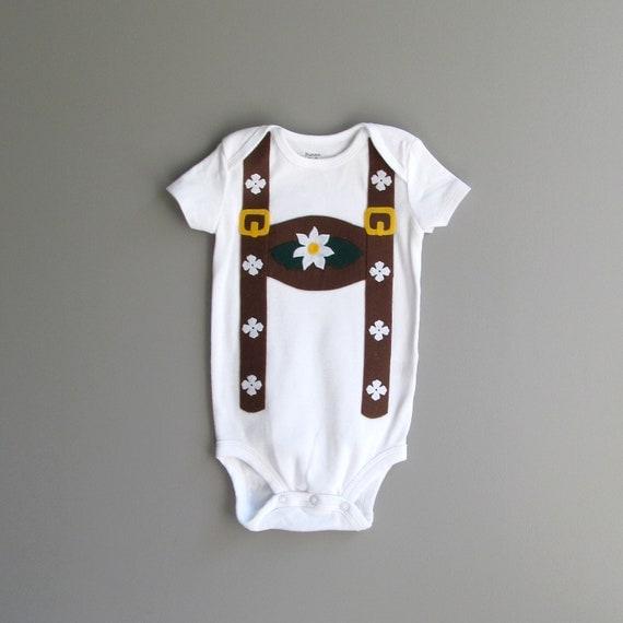 Newborn Gift, Lederhosen Baby, Halloween Costume  Childrens Oktoberfest Bodysuit, Suspender Shirt, German Gift, Octoberfest Shirt