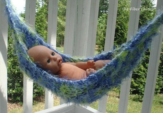 Handmade Newborn Baby Hammock Mini Blanket Wrap Photo Prop Blue Lime Green Knitted