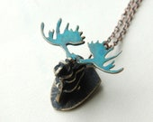 Moose Necklace Rustic 3D Brass With Patina Metal Work Made To Order