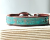 Motivational Bracelet Nautical Anchor Hand Pierced Copper On Leather With Antique Date Nail Closure