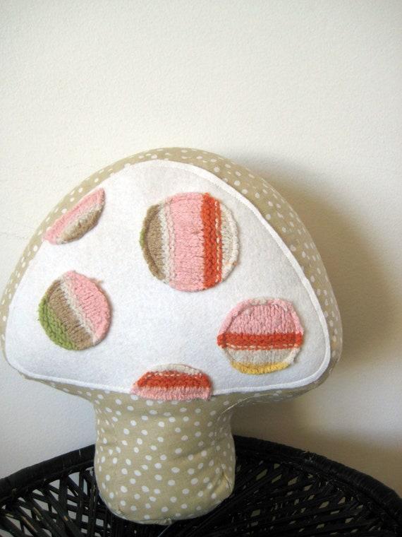 Decorative Pillow Kids throw Cushion Mushroom Girls Room Decor Nursery Pink