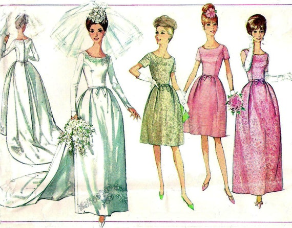 1960s Wedding Dress Pattern Simplicity 6353 Wedding Dress