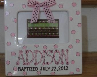 Personalized Picture Frame for Newborns, Boys, Girls, Bridal, Wedding Gift, 1st Birthday, Communion, Christenings