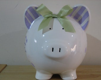 Personalized Piggy Bank-, Stripes and dots lavender-Newborns , Girls , Baby Shower Gift Centerpiece