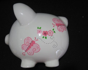 Personalized   Piggy Bank Flowers, Butterfly- Flower Girl,Newborn, Baby Shower Gift Centerpiece