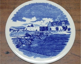 BLUE and WHITE TRIVET, Plaque, Historial Scene, Fort Ticonderoga, Vintage Staffordshireware Made in England