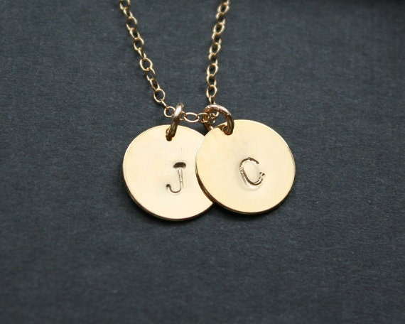 items similar to two disc initial necklace 14k gold. Black Bedroom Furniture Sets. Home Design Ideas
