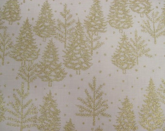 White Fabric with Gold Metallic Trees