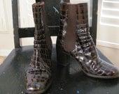 Vintage Ankle Boots Brown Charles David Alligator Ankle Boots 6 1/2