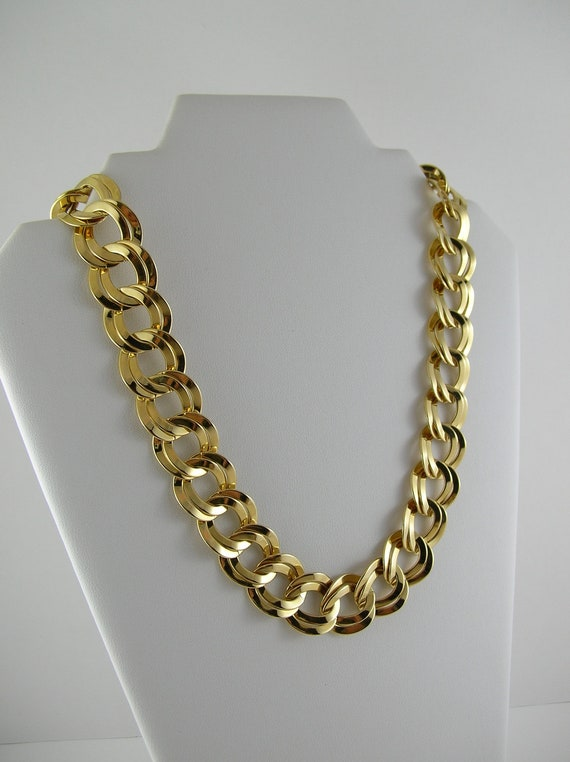 Vintage Gold Necklace Collar 80s Chunky Thick Gold Choker Double Chain Link 1980s Mod Retro Boho Hipster Pin Up Mad Men modernist Fall Autum