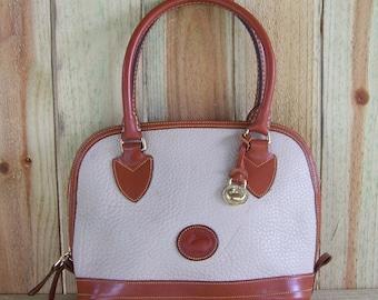Dooney and Bourke AWL Small Domed Satchel, Off White & Tan, Dooney and Bourke Handbag, Cream Color Handbag