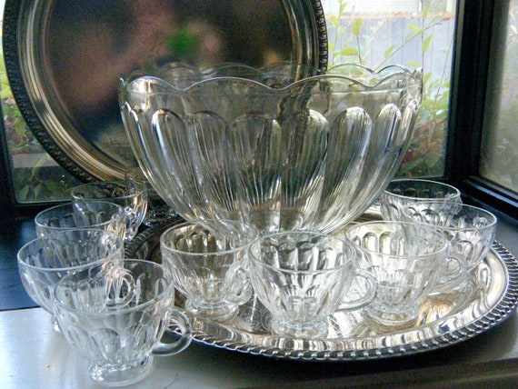 Beautiful Vintage Punch Bowl Clear Glass By Kaiservonvintage