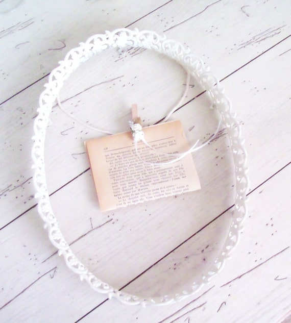 Necklace Holder  Jewelry Organizer White Filigree Frame Photo Memory Inspiration Shabby Chic Wedding Prop