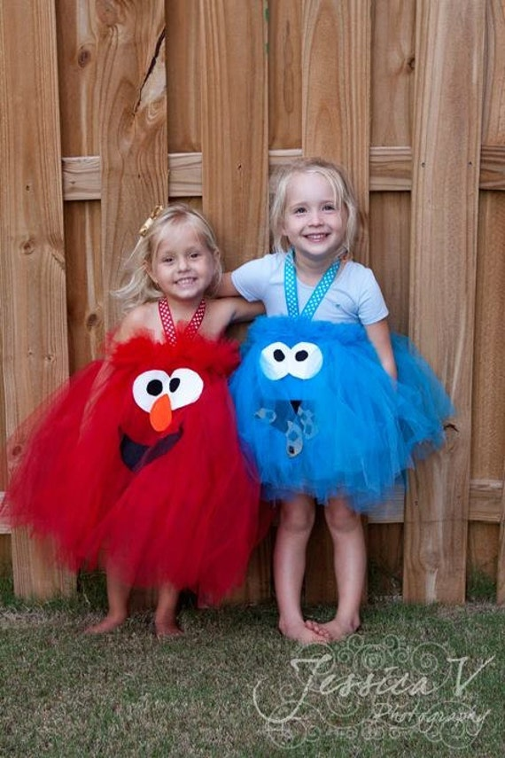 Cookie Monster Inspired Tutu Dress Costume for dress up or playtime or parades