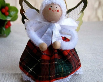 Vintage Christmas Angel Ornament, Miniature Angel Doll Figurine With Red and Green Plaid Tartan Dress, Vintage Christmas Holiday Decoration