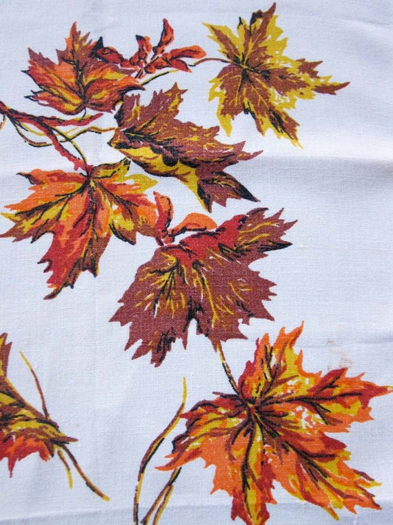 Vintage Flour Sack Dishtowel, Autumn Maple Leaf Fall Folliage Design