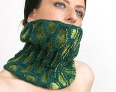 neck warmer turtle neck tube scarf knit honeycomb motif ultramarine green emerald lime green fall autumn curationnation