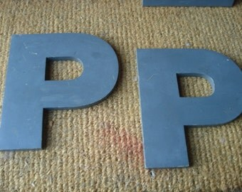 Vintage Reclaimed Metal Sign Letter P