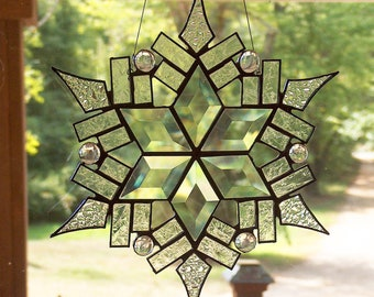 "11"" Stained Glass Star / Snowflake - The Medium Stars of Today Suncatcher"