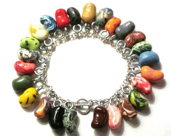 Jelly Bean - Every Flavor Bean Charm Bracelet - Polymer Clay - Gifts under 30, 50, 100
