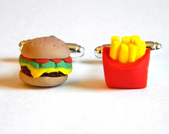 Burger and Fries Cufflinks - Polymer Clay Food - Handmade - Accessories - Unique - Gifts Under 20, 25, 50