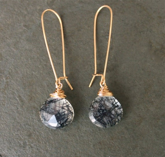 Black Lines Through My Heart- Rutilated Black Quartz 14 kt Gold Fill Earrings