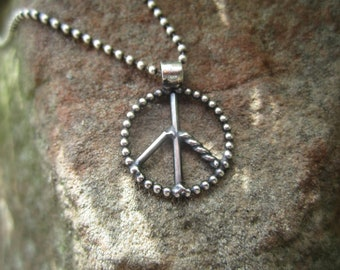 Sterling Silver Petite Peace Sign Necklace