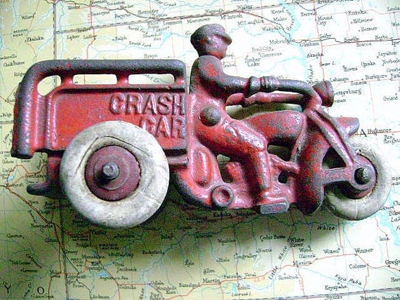 Circa Early 1940's Miniature Cast Iron Crash Car with Rubber Tires