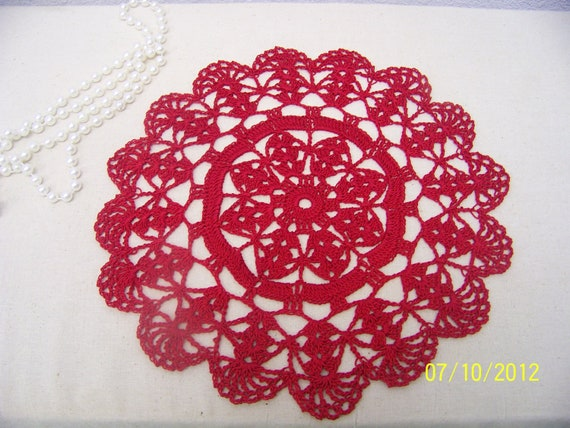 Crochet Red Lace Doily