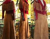 Holiday Clearance sale Vintage 80s Pig slit Red Suede Skirt & Western Native American Frontier Beaded Fringe Jacket