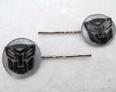 Black Autobot symbol barrettes