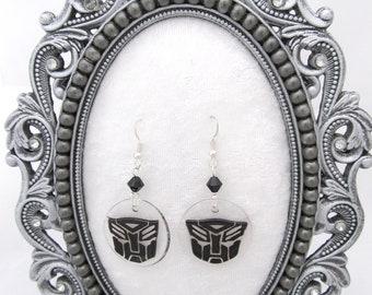 Black Autobot symbol earrings
