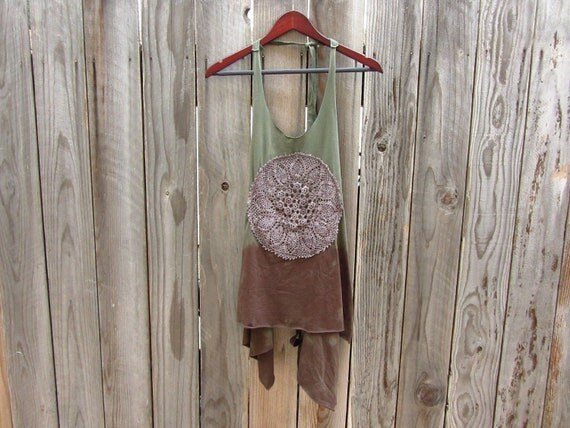 Refashioned Tshirt - Hand Dyed Apron Tunic Tank in Moss Green and Dark Brown - Womens Upcycled Clothing - One Size Fits Most
