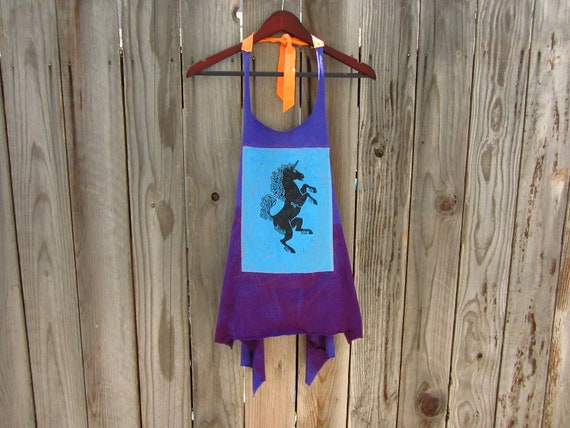 Refashioned Tshirt - Unicorn Block Print Apron Tunic Tank in Bright Purple - Womens Upcycled Clothing - One Size Fits Most
