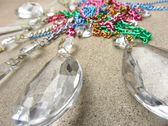 Vintage Chandelier Crystal Pendant, Glass Tear Drop Pendant, Repurposed Chandelelier Crystal Necklace, Upcycled Jewelry, Crystal Jewellery