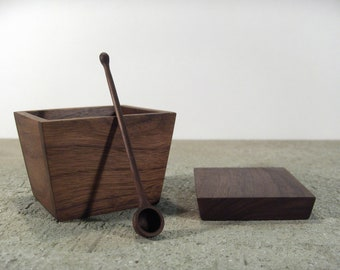 Large Wooden Sugar bowl - solid walnut sugar container with wood spoon