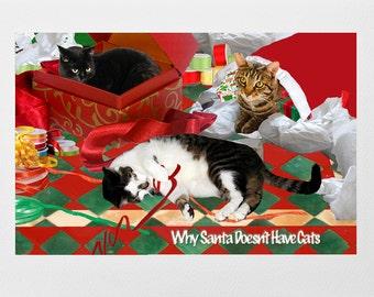 Cat Christmas Cards, Greeting Card Set (5), Cat Cards, Cat Lover Gift, Whimsical Christmas Gift Ideas, Deborah Julian